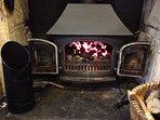 Kitchen - Log burner under TV