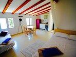 studio flat with soafa bed on the left