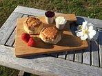Cornish cream tea from the village bakery.