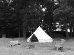 Bell tent, outside seating area, private firepit / campfire and seating area.