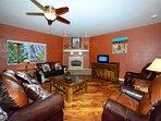 Beautiful living room. TV has been updated to 65'