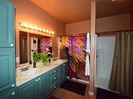 Master Bath has a tub shower combo plus a walk in shower.