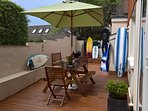 Decking at rear of house (surfing equipment not included!)