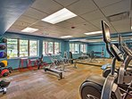 You won't miss out on your routine with access to this fitness center.