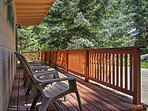 Admire tremendous forest scenery from the deck.