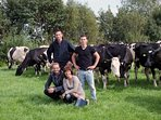 Our 5th generation Family business in front of our ladies. Milk is for the cheese production.