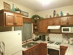 Fully equipped kitchen, coffee pot, toaster, ice blender, waffle maker, pot & pans, utensil, ect.