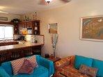 Open floor plan, Breakfast bar with 4 bar stools.