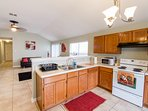 Open Kitchen/Breakfast Area...Seating for 7, Solid Wood Kitchen Table, Plush Leather Barstools
