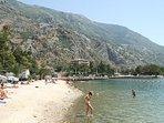 Dobrota beach just 500 metres from apartment, looking towards Kotor.
