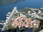 View of Kotor historic old walled city and harbour - apartment centrally located.