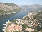 Scenic view of Kotor old town and Boka bay from walk to fort behind Kotor.