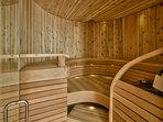 Finnish designed and built western red cedar sauna for eight