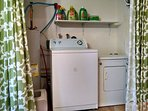Washer, dryer, iron and board.