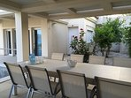 Dining and relaxing area by the pool
