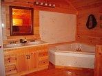 Spa Tub and double sinks in the upstairs bedroom