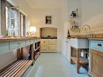 Wonderful kitchen, with free standing units and an Aga