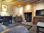 Characterful living room with log burner