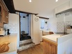 The small, well laid out kitchen area, with an adjoining utility room