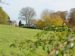 ...with views of the church and the ruins of Minster Lovell Hall
