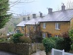 Jackdaw is the first in a short row of cottages, with the rolling hills just beyond