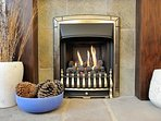 Gas flame fireplace