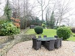 Beautiful enclosed garden, with outdoor seating for eight