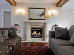 The beautiful real fireplace