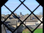 View across Northleach from one of the leaded windows