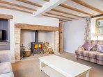 Beautiful living room with log burner