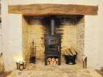 The cosy log burner, perfect for those colder evening!