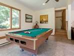 Pool table in recreation room