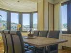 Dining area with views to the sea