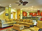 Everybody in your group will love hanging out in the bright living room.