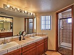 Clean off at the end of the day in the spacious bathroom.