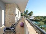 Balcony with exercise equippment