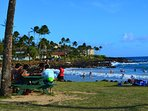 Looking at Brennecke's from Poipu Beach Park