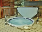 Shared hot tub in main area (there are 2 shared hot tubs) and a large heated parking garage