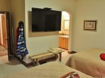 Fourth master suite of Park City Serenity - Park City with 2 queen beds featuring a 60' HDTV and private bathroom.