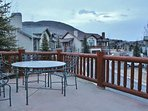 Front of house balcony of Park City Serenity - Park City including patio furniture and gas grill.
