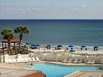 The larger pool is right on the Gulf.