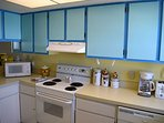 Fun kitchen with great colors.