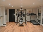 Luxury gym (unsupervised) + DVD  player to play keep fit/yoga videos. Extra cost - ask for details
