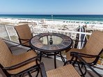 Plenty of comfortable seating and picturesque gulf views make up