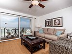 Gulf front living room featuring Neutral brown tones that encour