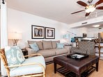 Plenty of stylish and comfortable seating paired with a beachey