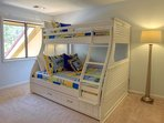 The 2nd bedroom has a bunk with full on bottom ,twin on top and