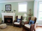 Cozy living room with gas fireplace, TV and Bluray for streaming your favorite shows