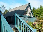 The carriage house is uniquely located on the main deck level for easy, convenient access