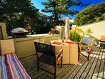 Large entertaining balcony, with BBQ and dining set, umbrella, hammock etc